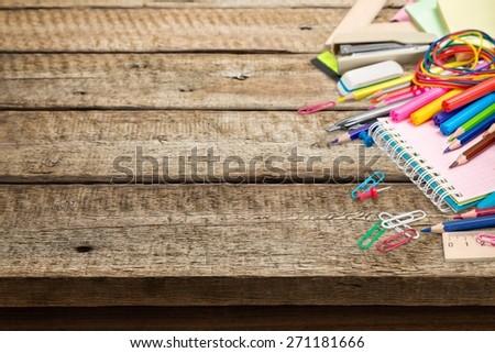 Accessories. School supplies on white background - stock photo