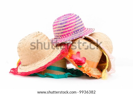Accessories Straw hats on white background .