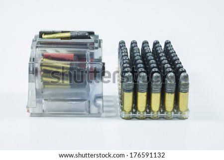 Accessories with .22 bullet isolated on white background.  - stock photo