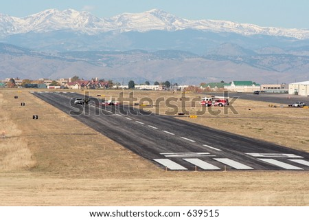 Accident aircraft on runway - stock photo