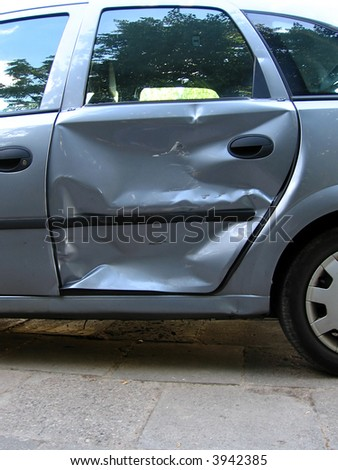 accident - bad day for owner car - destroyed side car, - stock photo