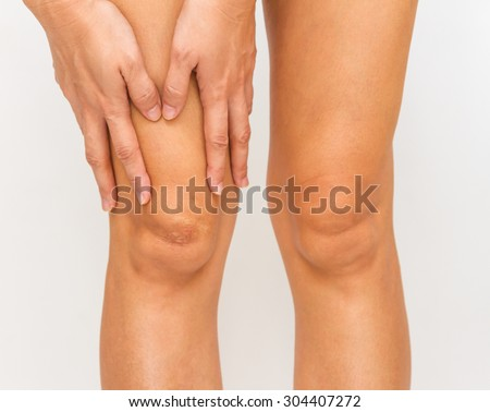 Accident for legs on white background. - stock photo
