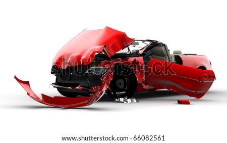 Accident of a red car isolated on a white background - stock photo