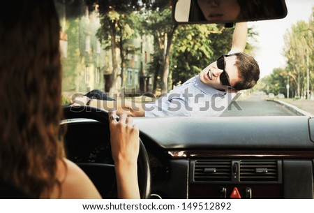 Accident on the road - stock photo