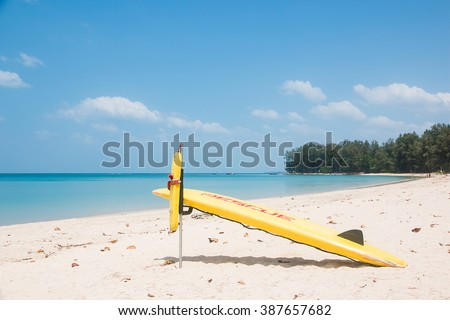 Accident prevention and water rescue. Were placed on the beach ready for a rescue tourists Victims water over blur Seascape.Concept of help, rescue, accident, accident business. - stock photo