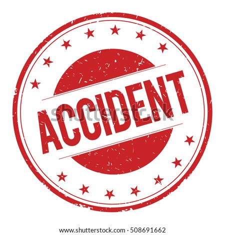 ACCIDENT stamp sign text word logo red.