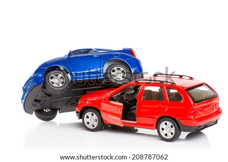 Accident two cars  isolated on white background - stock photo