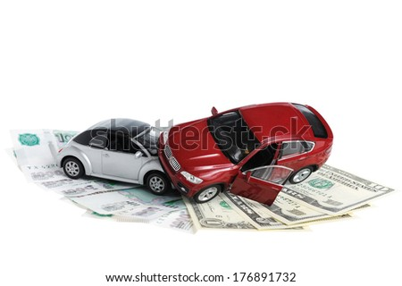 Accident two cars, money on white background - stock photo