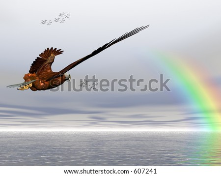 Accipitridae, the american bald eagle flying over the ocean, misty sky, puffy clouds, rainbow and seagulls in the background.  3D render.