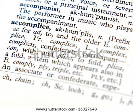 Accomplice defined from an old dictionary