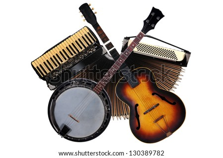 Accordion,banjo & guitar - stock photo