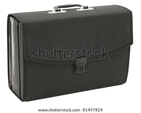 Accordion Style Black Briefcase Isolated On White Background