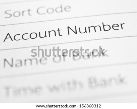 ACCOUNT NUMBER printed on a form close up