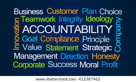 Accountability Word Cloud on Dark Blue Background - stock photo