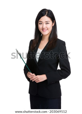 Accountant assistant with file pad - stock photo
