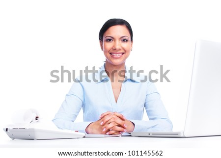 Accountant business woman. Isolated on white background.