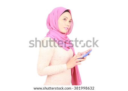 Accountant business woman muslim with a calculator - stock photo