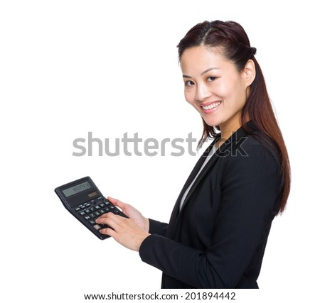 Accountant business woman touch on calculator