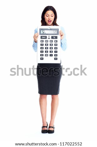 Accountant business woman with calculator isolated on white background. - stock photo
