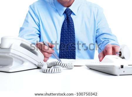 Accountant businessman. Isolated on white background. - stock photo