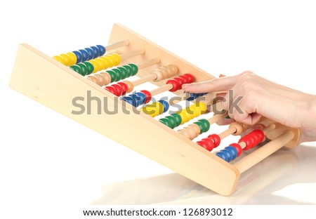Accountant counting on abacus, isolated on white