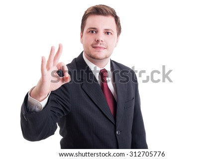 Accountant or businessman showing perfect ok and excellent gesture isolated on white - stock photo