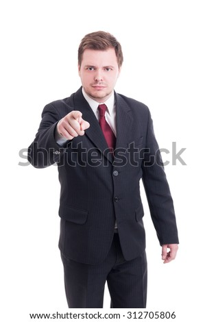 Accountant or financial manager pointing finger to the camera as choosing or fired gesture - stock photo
