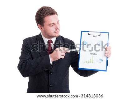 Accountant or financial manager showing charts and statistics printed on clipboard