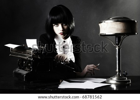 accountant secretary retro woman vintage office wooden table wallpaper - stock photo