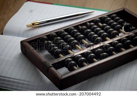 Accountants era before digital system - stock photo