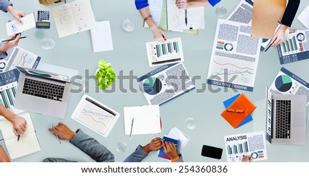 Accounting Analysis Business Statistics Discussion Occupation Project Concept - stock photo