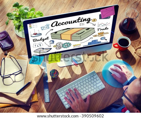 Accounting Bookkeeping Finance Economic Money Concept - stock photo