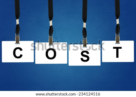 accounting cost word on badge with blue background - stock photo