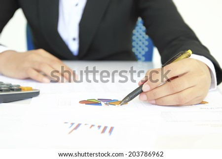 Accounting,focus on finger