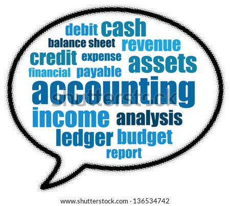 Accounting in speech bubble - stock photo