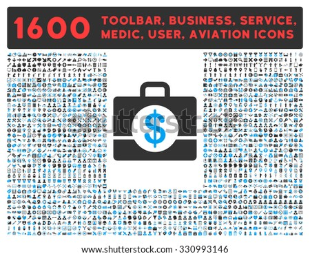 Accounting raster icon and 1600 other business, service tools, medical care, software toolbar, web interface pictograms. Style is bicolor flat symbols, blue and gray colors, rounded angles, white - stock photo