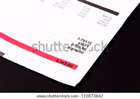 Accounts bold with red - stock photo