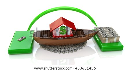 accumulation of money in the design of information related to banking and finance. 3d illustration - stock photo