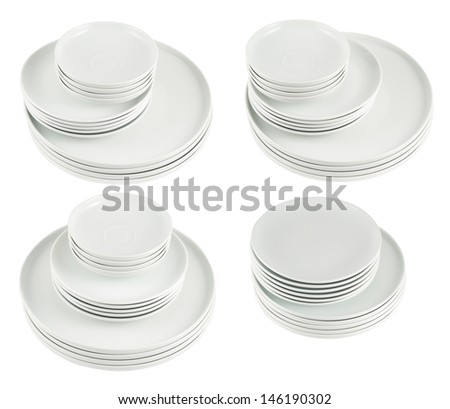 Accurate pile stack of the round ceramic white dish plates isolated over white background, set of four foreshortenings - stock photo