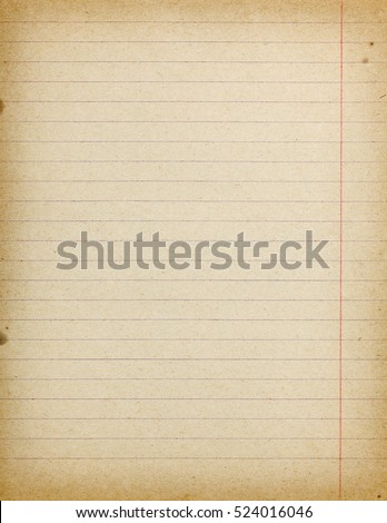 Accurate vintage lined paper empty background with margins and few stains