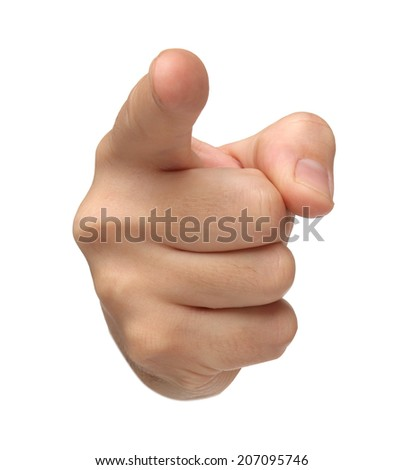 Accused. Pointing hand isolated on white background - stock photo
