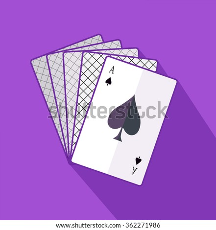 Ace card flat design on background. Playing cards, poker game, casino play, gamble win, luck and risk, gambling leisure, winner bet, playing fortune illustration. Raster version - stock photo