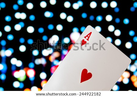 Ace heart with bokeh background - stock photo