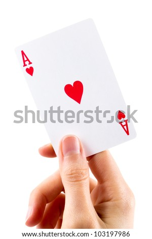 Ace of hearts being held on white - stock photo