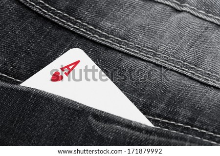 ace of hearts in jeans pocket