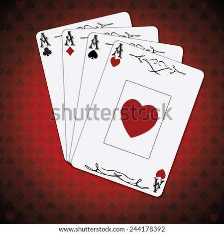 Ace of spades, ace of hearts, ace of diamonds, ace of clubs poker cards set red white background - stock photo