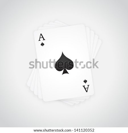 Ace of Spades at the top of the deck of cards (raster illustration) - stock photo