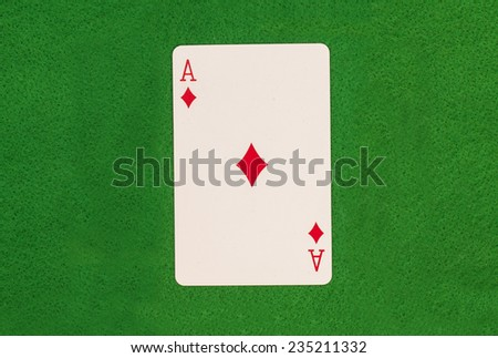 Ace On Green Table  - stock photo
