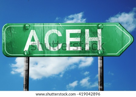 Aceh, 3D rendering, a vintage green direction sign