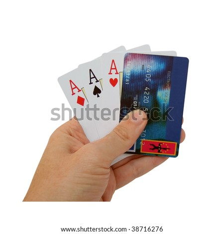 aces with a credit card - stock photo